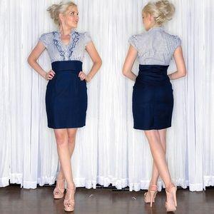 Blue Stripe Pencil Skirt Work Dress